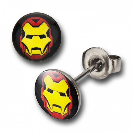 Iron Man 316L Surgical Steel Shellhead Stud Earrings