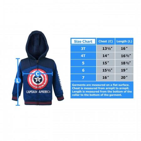 Captain America Shield Kids Sherpa Hoodie