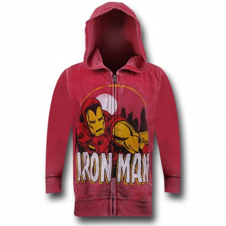 Iron Man Circle Burnout Zip Fleece Kids Hoodie