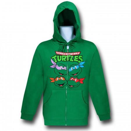 TMNT Turtle Faces Zip-Up Green Hoodie