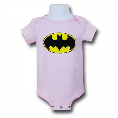 Batman Symbol Pink Infant Snapsuit