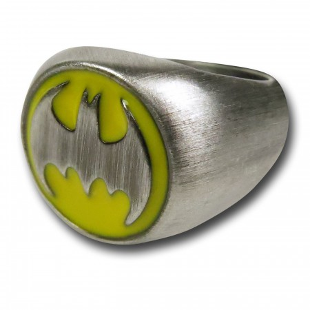 Batman Symbol Brushed Nickel Ring
