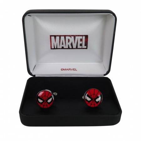 Spiderman Mask Stainless Steel Plated Cufflinks