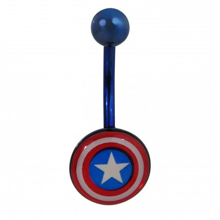 Captain America 14G Stainless Steel Shield Belly Button Ring