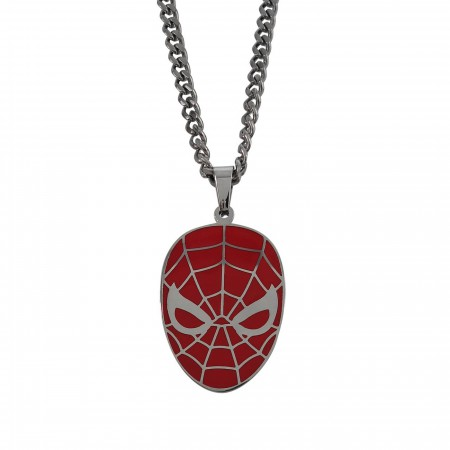 Spiderman Red Stainless Steel Pendant Necklace