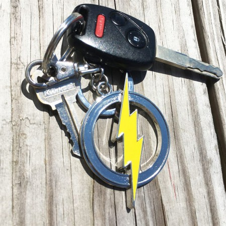 Flash Painted Bolt Pewter Keychain