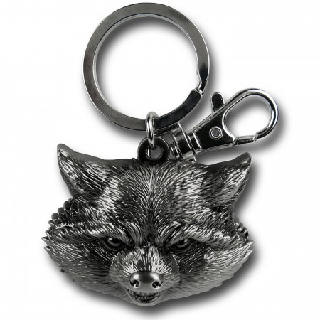 Rocket Raccoon Head Pewter Keychain