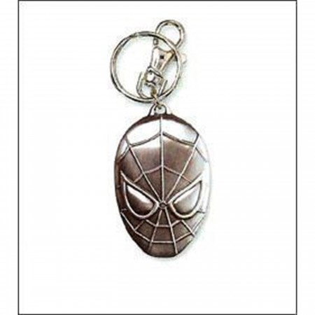 Spider-Man Head Pewter Keychain