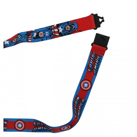 Captain America Classic Hero Lanyard with PVC Charm