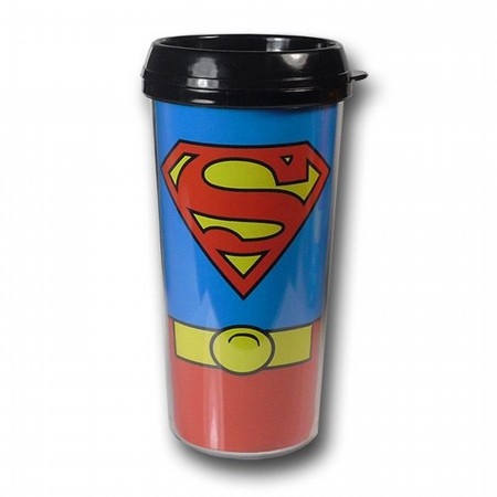 Superman Costume Plastic Travel Mug