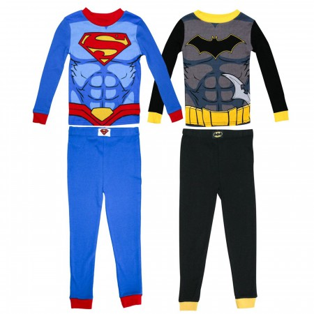 Batman & Superman Costume 4 Pc Pajama Set