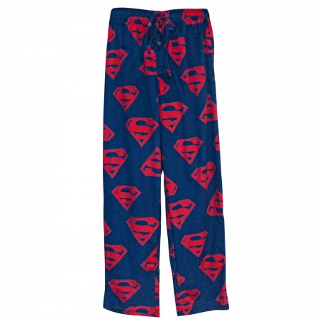 Superman Crest Repeat Men's Fleece Pajama Pants
