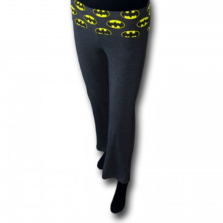 Batman Symbols Women's Heather Charcoal Yoga Pants