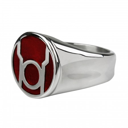 Red Lantern Symbol Stainless Steel Ring