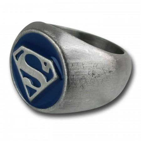 Superman Brushed Nickel Blue Embossed Ring
