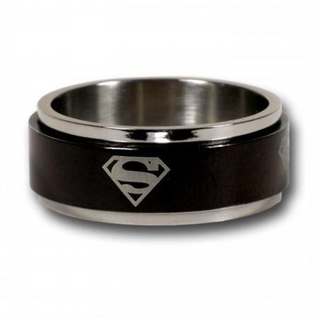 Superman Symbol Black Spinner Ring