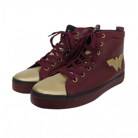 Wonder Woman Logo Red Hightop Sneakers