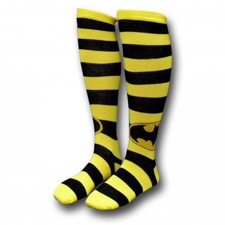 Batman Black/Yellow Striped Women's Knee-High Socks