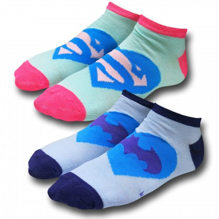 Batman and Superman Heart Women's Ankle Socks 2-Pack