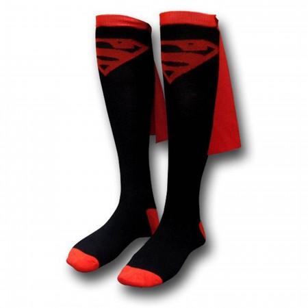 Superman Black/Red Women's Caped Knee-High Socks