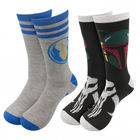 Star Wars Boba Fett & Jedi Crew Socks 2-Pack