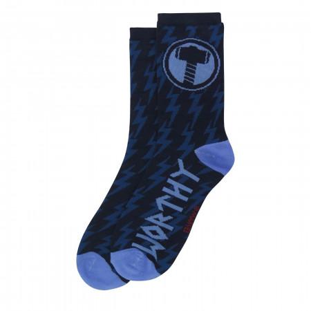 Thor Hammer Worthy Crew Socks