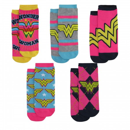 Wonder Woman Neon Women's Low Cut Sock 5-Pack