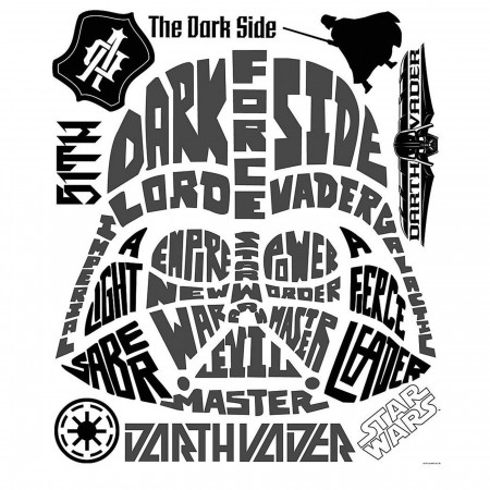 Star Wars Vader Typographic Giant Wall Decal