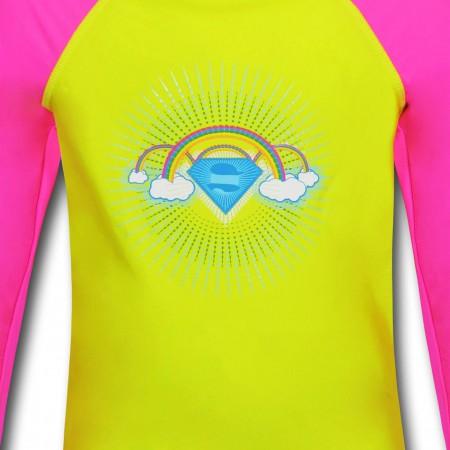 Supergirl Clouds Long-Sleeve Girls Swim Shirt