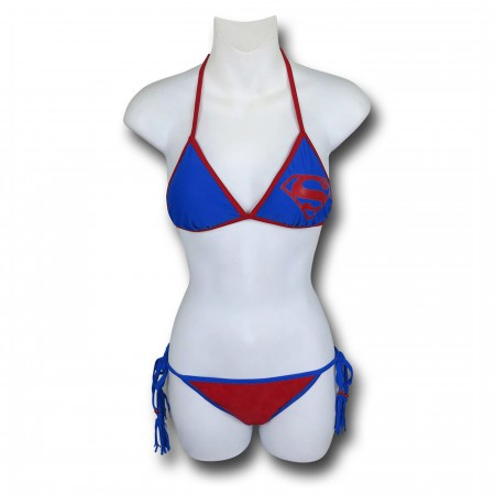 Superman Triangle Tassel String Bikini