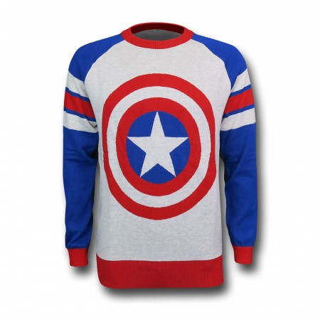 Captain America Shield Intarsia Men's Sweater