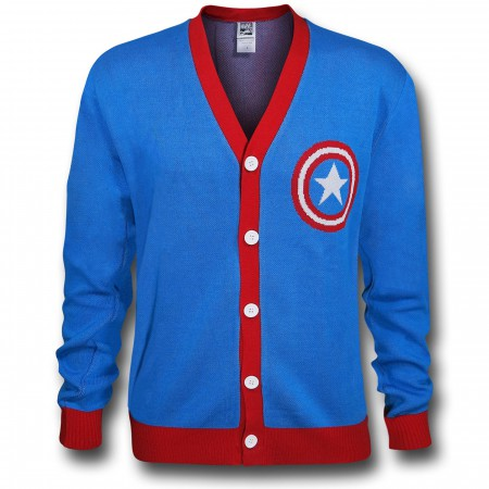 Captain America Shield Symbol Blue Cardigan