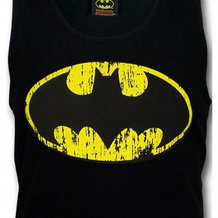 Batman Distressed Symbol Black Tank Top