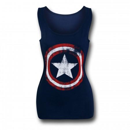 Captain America Distressed Navy Women's Tank Top