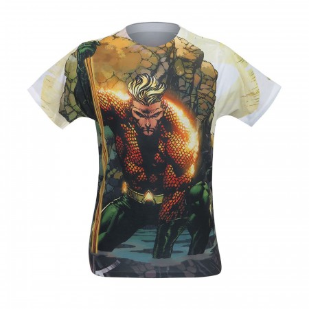 Aquaman Good Vs Evil Men's Sublimated T-Shirt Front Print Only