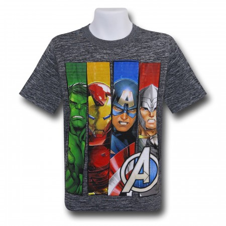 Avengers Kids Panels Grey Space Dye T-Shirt