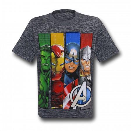 Avengers Kids Panels Grey Space Dye T-Shirt