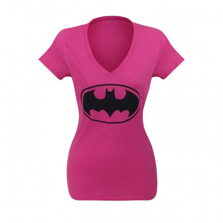 Batgirl Symbol Women's Pink V-Neck T-Shirt