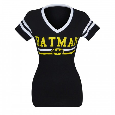 Batman Logo Women's Varsity V-Neck T-Shirt