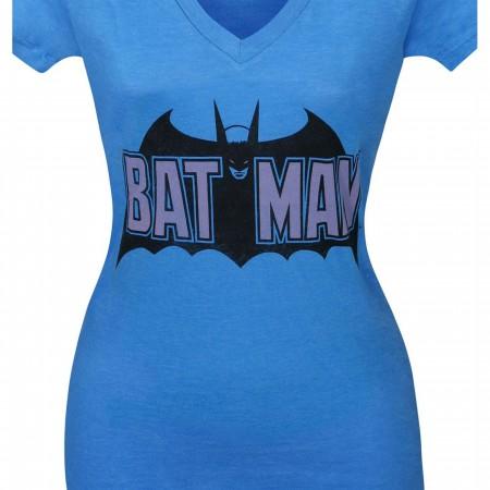 Batman Old School Logo Women's V-Neck T-Shirt