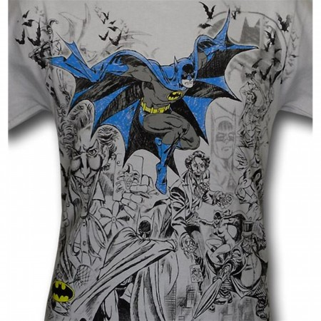 Batman Rogues Vignette Outline T-Shirt