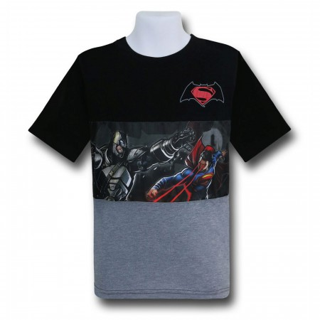 Batman V Superman Battle Kids Cut & Sew Image T-Shirt