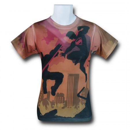 Batman Vs Superman Shadow Fight Sublimated T-Shirt
