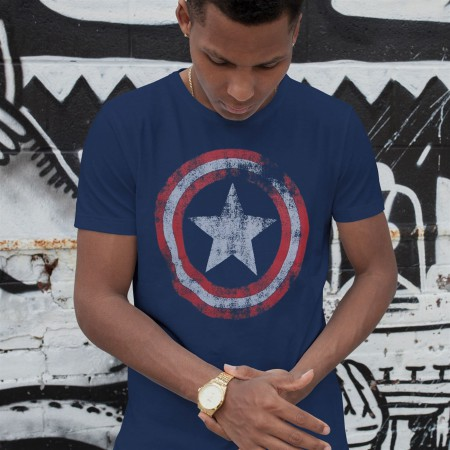 Captain America Distressed Shield Navy T-Shirt