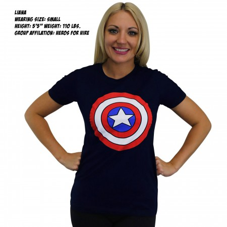 Captain America Shield Women's Navy T-Shirt