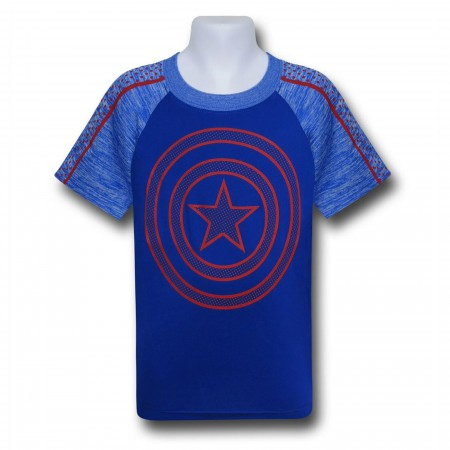 Captain America Kids Shield on Blue Space Dye T-Shirt