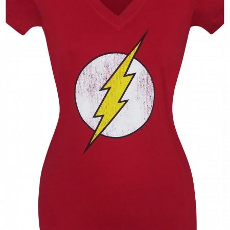 Flash Symbol Distressed Women's V-Neck T-Shirt