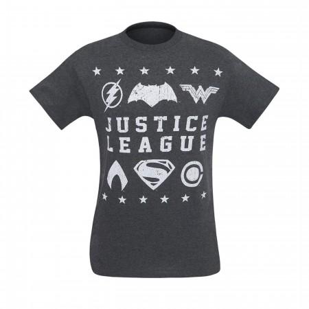 Justice League Movie Distressed Symbols Men's T-Shirt