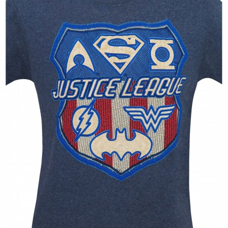 Justice League Embroidered Shield Men's T-Shirt