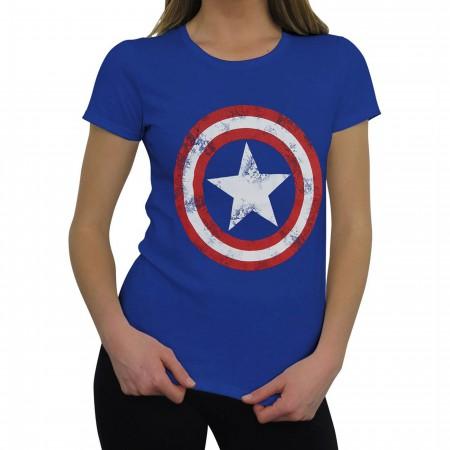 Captain America Women's Distressed Shield Royal T-Shirt